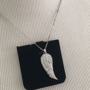 VTG Silver plated Angel Wing chain necklace NEW